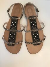 Elie Tahari Strappy Leather Reptile, Bead & Bling Flat Sandal US 9.5/40.5
