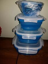 4 X Lock & Lock Round Deep Square Food Containers - BLUE & WHITE - NEW