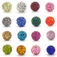 50Pcs Czech Crystal Rhinestones Pave Clay Disco Ball Round Spacer Beads 10MM DIY