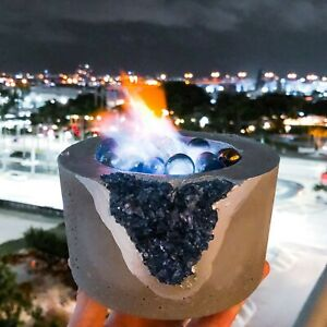 Fire Bowl with Crystals | Table Top Indoor Fire Pit Outdoor Portable  Fireplace