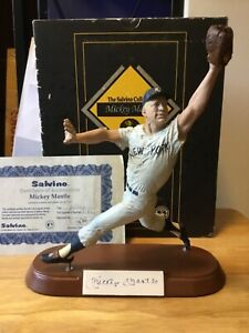 MICKEY MANTLE Signed L.E. Salvino Cold-Cast NY Yankees Figurine with Box & COA
