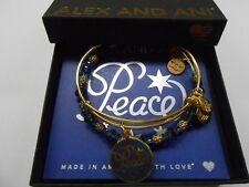 Alex and Ani Navy Holiday Peace Bangle Bracelets Set of 2 Shiny Gold NWTBC