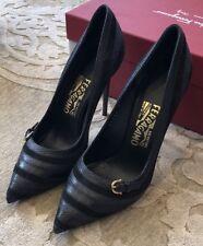 $750 New Salvatore Ferragamo Ladies Shoes Womens Black Heels Size 9 C US 39