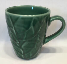 One Pier 1 One Jade Leaves MUG 4 1/8 inch Stoneware Embossed Green Leaf Leaves