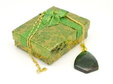 Green Tigers Eye Pendant Necklace, 20 inch 18ct Gold Plated Chain Boxed