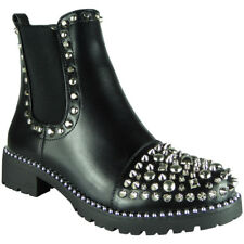 New Womens Ladies Studded Goth Zip Ankle Boots Gusset Chelsea Fashion Shoes Size