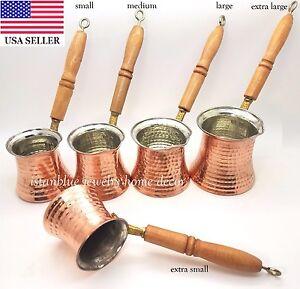 Turkish Hand Hammered Stove Top Copper Coffee Pot Wooden Handel Ibrik Cezve