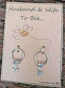 HUSBAND & WIFE TO BE BEE GIFT WEDDING ENGAGEMENT GIFT KEYRING CONGRATULATIONS