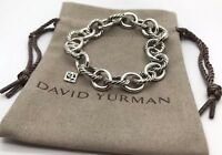 David Yurman Sterling Silver 12'mm Oval Cable Link Chain 7' Inch Bracelet