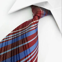 GIFTS FOR MEN Classic Mens Stripe Check Striped Silk Work Tie Red Blue White