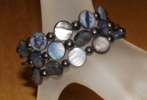 Jet Abalone SHELL and HEMATITE Beads Coil Wrap BRACELET - Made in/Ships from USA