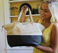 Kate Spade GROVE COURT BLAINE Blk/Buttermilk Color-block Pebbled Leather Tote
