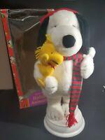 Snoopy Holding Woodstock Santa's Best Animated Figure Christmas Display Peanuts