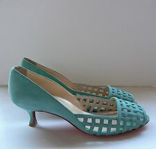 Christian Louboutin Aqua Suede Caged Pumps Shoes 37