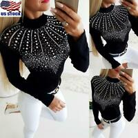 Womens Rhinestone Long Sleeve Tops Blouse Casual Slim Fit Stretch Jumper T-Shirt