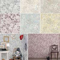 Flower Wallpaper Floral Leaves Stem Luxury Metallic 6 Colours Hedgerow Crown
