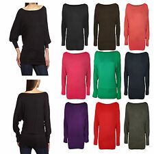 WOMEN ONE OFF SHOULDER BATWING LONG SLEEVE SLOUCHY T-SHIRT BAGGY TOP PLUS SIZES