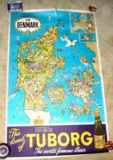 SUPERB VINTAGE CARTOON MAP OF DENMARK TUBORG BEER BY HAKON MIELCHE c.1960