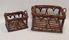 2 Grapevine Chicken Wire Baskets With Handles Country Rustic Farmhouse Storage
