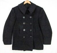 Vintage 60s US Navy Military Pea Coat S 36 Corduroy Pockets Double Breasted Wool