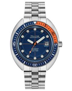 New Bulova Oceanographer Auto Stainless Steel Blue Dial Men's Watch 96B321