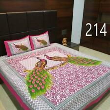 Indian cotton bed sheets 2 pillow jaipuri traditional handmade mandala cover_H32