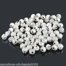 W09 100 Silver Plated Corrugated Bicone Beads 6x6mm