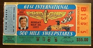 1977 Indianapolis 500 Indy 500 Motor Speedway Race Ticket Stub