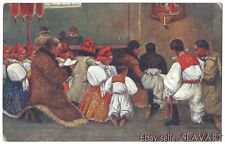 POSTCARD Czech Painting Easter church prayer Moravian folk costume candle icon