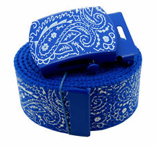 ROYAL BLUE BANDANA BELT & BUCKLE PAISLEY CHICANO RAP