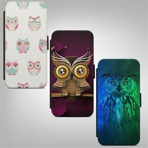 Owl Pattern Colourful FLIP WALLET PHONE CASE COVER FOR IPHONE SAMSUNG HUAWEI