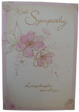 854 Single Sympathy Card - With Sympathy, Loving thoughts are with you (Size G)
