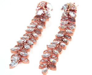 4CT Drop Diamond Earrings 18K Rose Gold Natural Marquise Cut Push Back