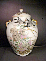Antique Japanese Temple Ginger Jar All Hand Painted Birds Flowers