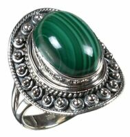 Handmade 925 Solid Sterling Silver Ring Natural Malachite Stone US Size 7 R2627