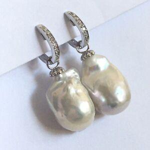 Q2350 14k Solid White Gold Big Natural Biwa Pearl Diamond Earrings Huggie Dangle