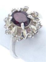 Vintage Women Ladies Size 7.75 US Garnet Stone Sterling Silver 925 Ring G567