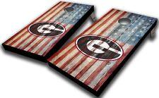 University of Georgia American Flag Rustic Planks Cornhole Board Set