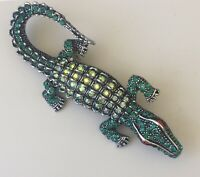 Alligator Brooch in silver tone metal with crystals