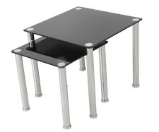 Contemporary Glass & Chrome 2 Nesting Side End Tables Nest Of Tables Gloss Black