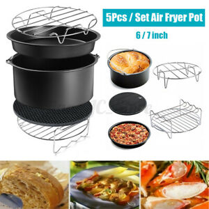 7'' Air Fryer Frying Baking Pan Pizza Tray Mold Oven Pot Dish Cage Rack Set BBQ