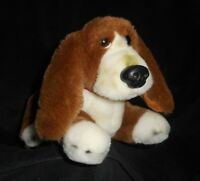 "12"" VINTAGE 1986 DAKIN LAYING BROWN & WHITE PUPPY DOG STUFFED ANIMAL PLUSH TOY"