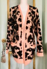 New Leopard Print Mohair Like Pink Peach Long Cardigan One Size