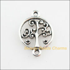 12Pcs Tibetan Silver Tone Round Tree Charms Connectors 14x19mm