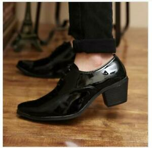 Men's Pointed toe Lace Up Patent Leather Business Cuban Heel Oxfords Party Shoes