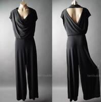 Sale Black Cowl Neck Wrap Wide Leg Evening Party Dress Pants 94 ac Jumpsuit 3XL