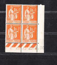timbre France bloc de 4 coin daté  type  Paix  1f  orange    num: 286  **