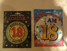 18th Birthday Giant Party Badge & Coaster
