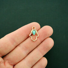 4 Hamsa Hand Charms Antique Gold Tone With Faux Turquoise Stone - GC1058