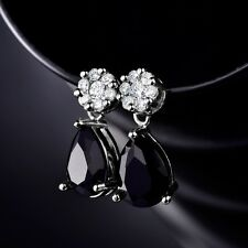 Elegant Womens Black Sapphire Crystal Gold Filled Dangle Earrings Jewelry Gift